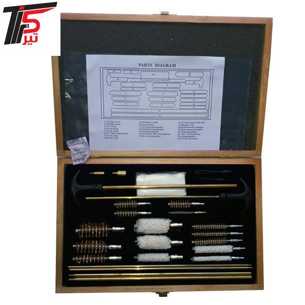 ست تنظیف مولتی کالیبر جعبه چوبی ساچه زنی و گلوله زنی انواع کالیبر ها ارسال رایگان به سراسر کشور